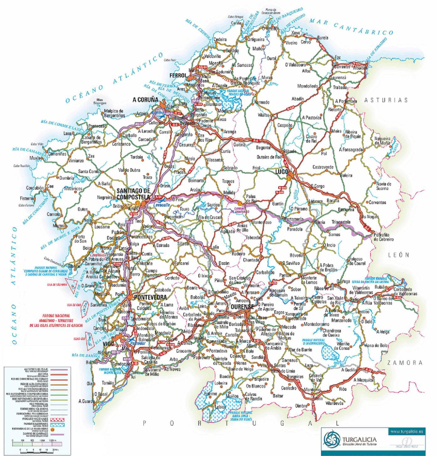 Mapa De Carreteras De Galicia Informativo Juridico