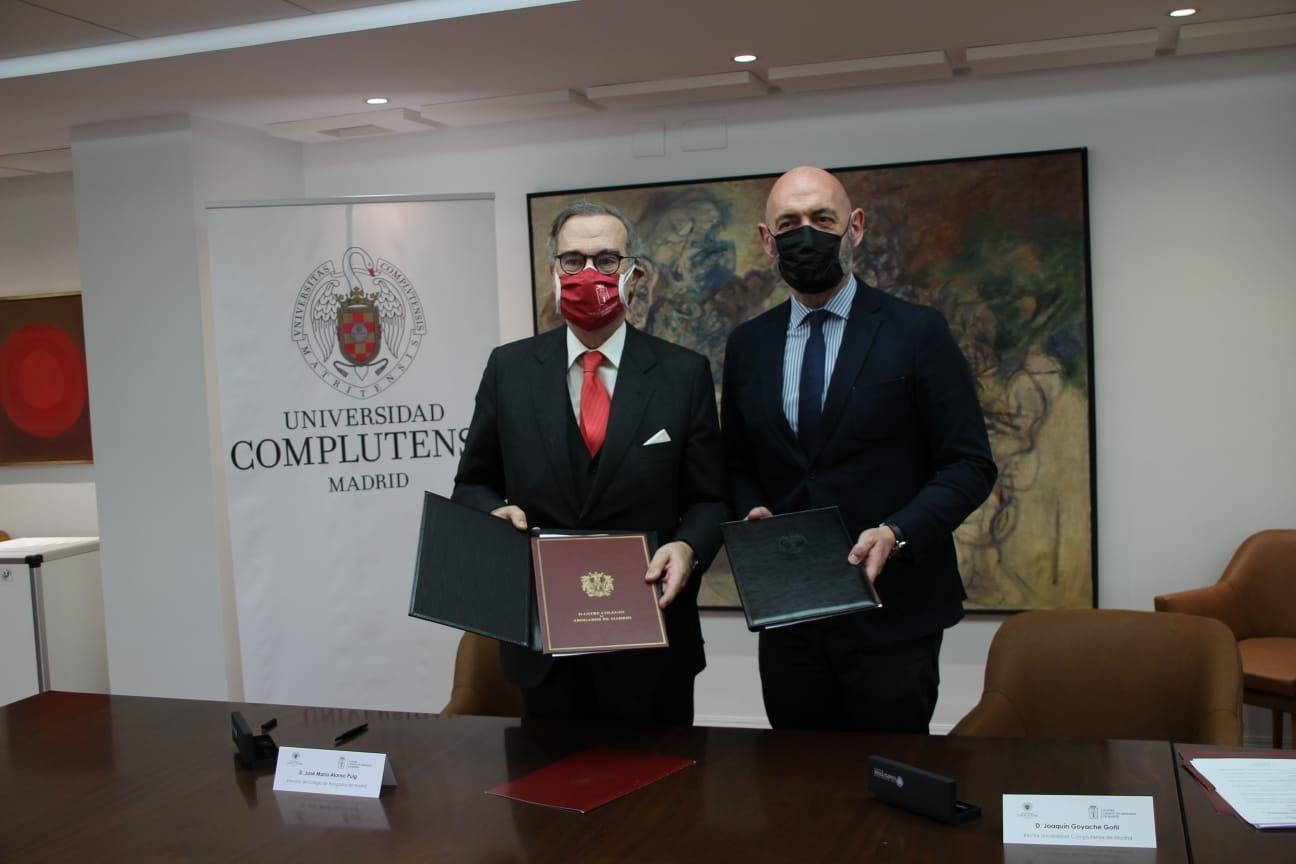 José María Alonso, decano del ICAM, y Joaquín Goyache Goñi, rector de la UCM